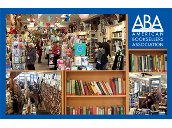 ABA logo with images of interiors of bookstores
