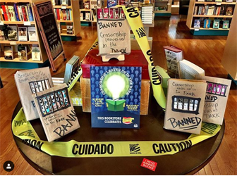 A Banned Books Week display at Avid Bookshop