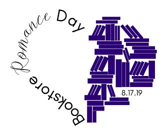 Bookstore Romance Day logo, designed by BrocheAroe Fabian at Broche Consulting.