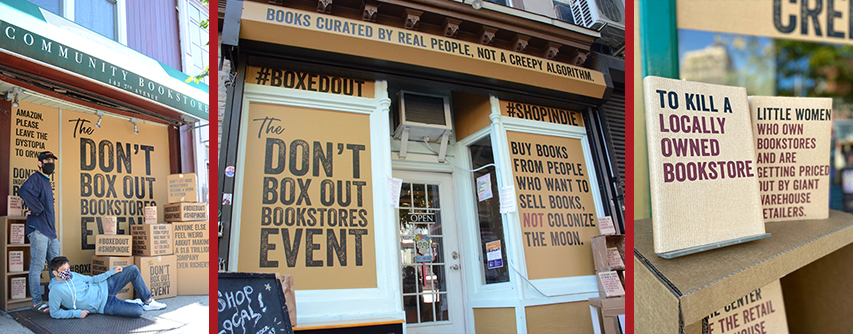 Bookstore storefronts participating in the #BoxedOut anti-Amazon campaign