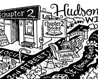 Line art of Chapter 2 Books in Hudson, Wisconsin.