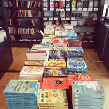 Book display inside City of Asylum Bookstore