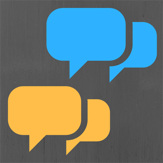 Overlapping speech bubbles simulating conversation