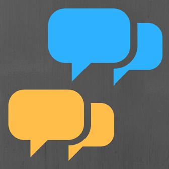 Overlapping speech bubbles simulating conversation
