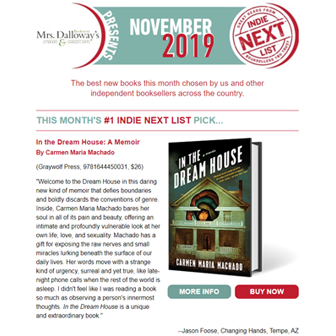 November Indie Next List Flier featuring In the Dream House by Carmen Maria Machado