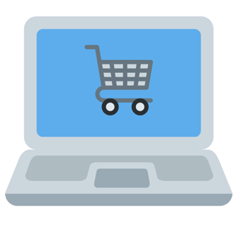 Shopping cart image on a computer screen