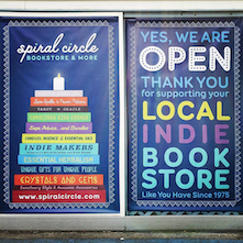 A thank you for shopping local message from Spiral Circle bookstore.