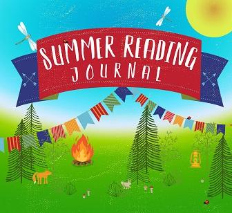 """Summer reading journal"" banner over a woodland camp scene"
