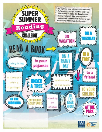 An image of the Summer Reading Challenge coloring activity, to be distributed to readers by indie stores.