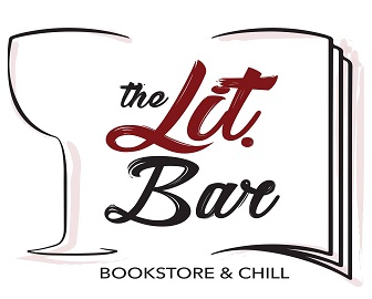 The Lit. Bar logo, which is half of a wine glass place next to half of a book.