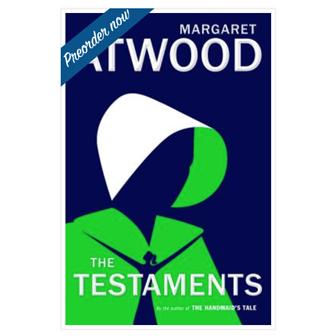 The Testaments by Margaret Atwood with preorder banner