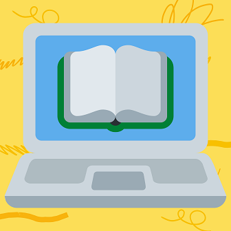 Image of a book on a laptop screen