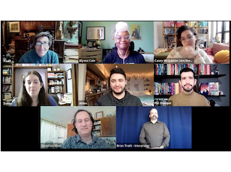 Screenshot of virtual panel of authors who write LGBTQ+ romance books
