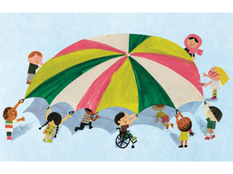 Illustration of children playing with a parachute from You Matter by Christian Robinson