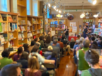 Author Tiffany Jewell at her standing room-only launch for This Book is Anti-Racist at  Booklink Booksellers in Northampton, Massachusetts.