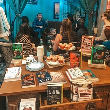Author event and book display at Away With Words