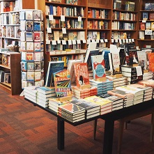 Table display of books at Oblong Books