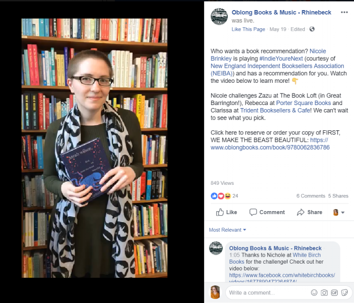 Nicole Brinkley of Oblong Books & Music in Rhinebeck, New York, is one of the booksellers participating in the new #IndieYoureNext viral book review campaign on social media.