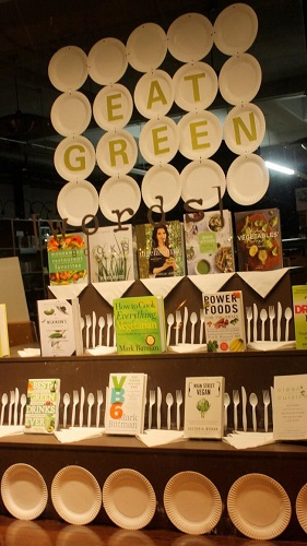 A cookbook display in [words] Bookstore's front window