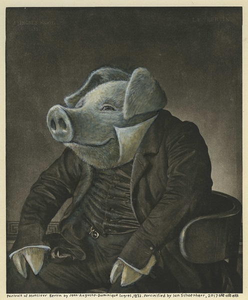 Sepia portrait of a pig in a suit by Ian Schoenherr.