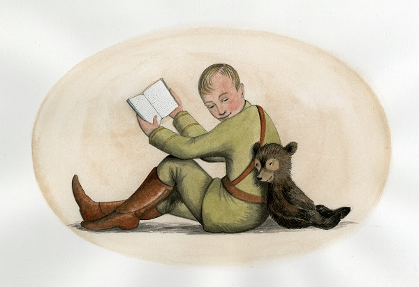 """Captain Harry Colebourn and Winnie reading"" by Sophie Blackall."