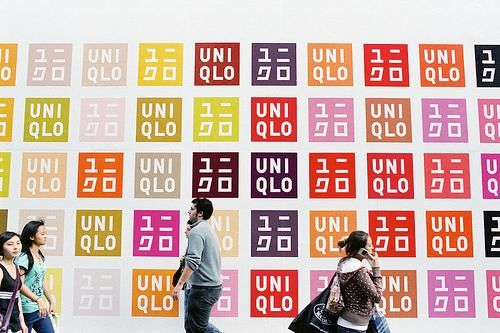 Uniqlo's logo in a variety of colors