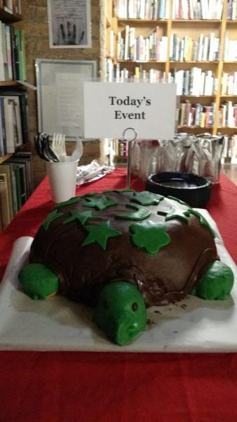 Guests enjoyed a turtle cake at 57th Street Books' release party in Chicago.