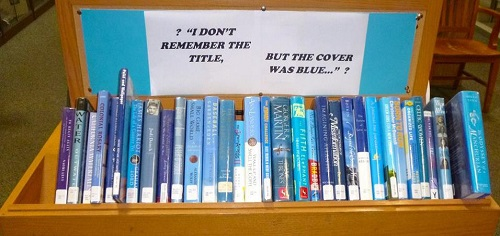 A display of titles with blue covers along with a sign for curious customers