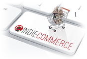 IndieCommerce keyboard key with shopping cart full of books