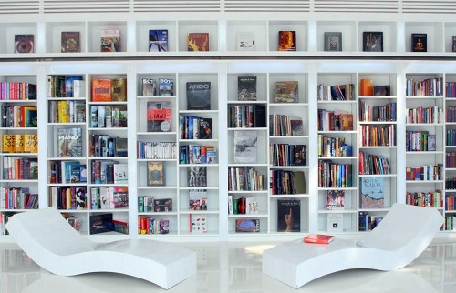 A monochromatic display of books