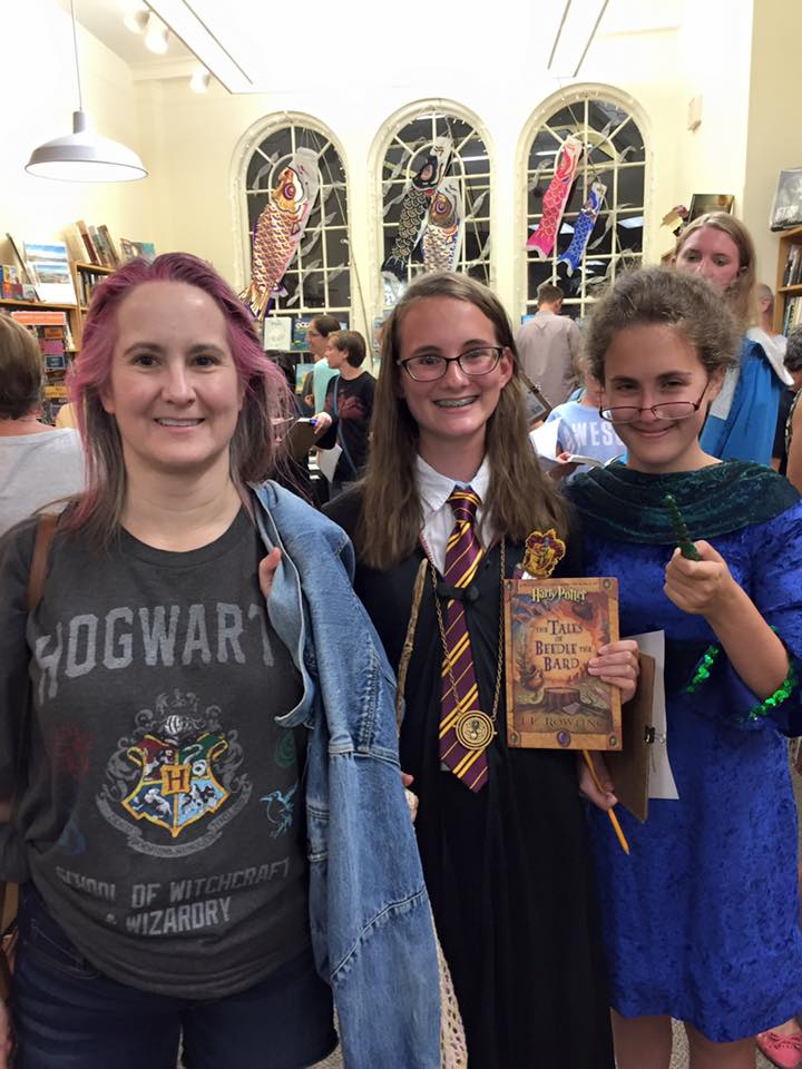 Harry Potter party guests with costumes.