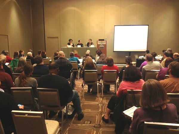 "Booksellers Becky Anderson, Sara Hines, and Mara Lynn Luther speak at the ABC session ""A Year of In-Store Promotions."""