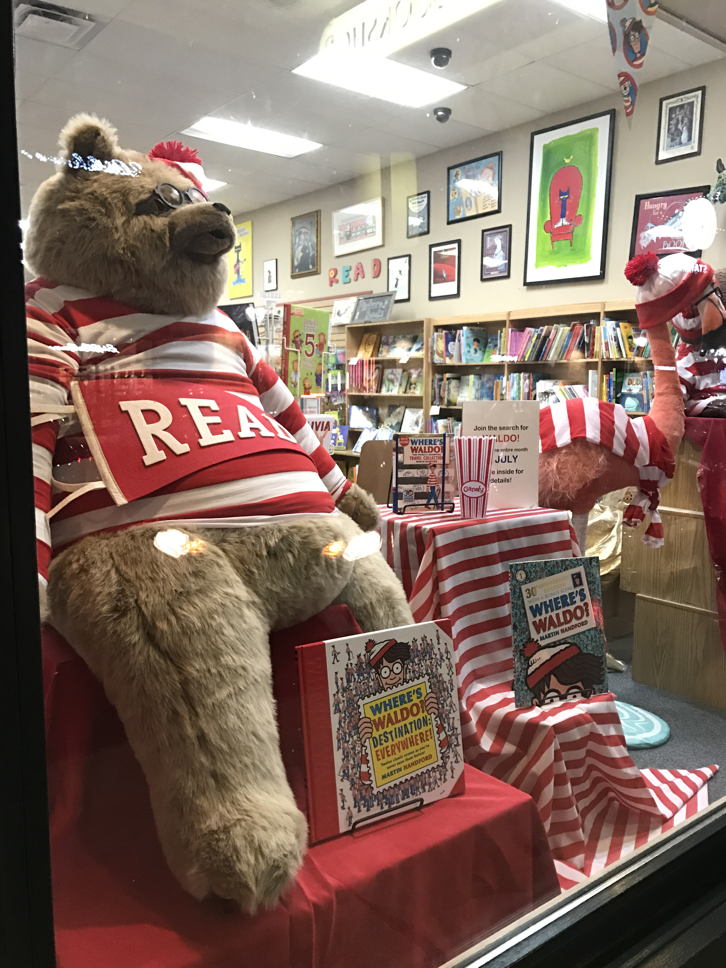 A Find Waldo Local window display at Anderson's Bookshop in Naperville, Illinois.