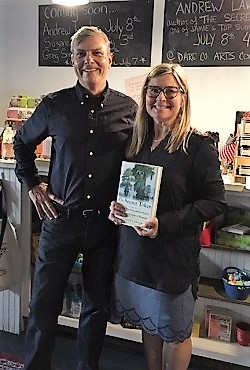 Andrew Lawler and Downtown Books owner Jamie Hope Anderson