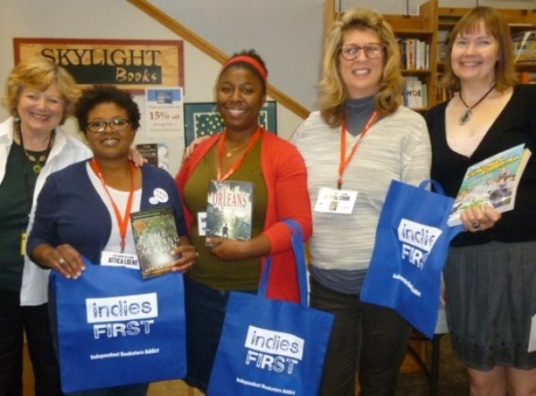 Skylight Books' Kerry Slattery (left) and Mary Williams (right) welcome authors Attica Locke, Sherri L. Smith, and Jennie Cook.
