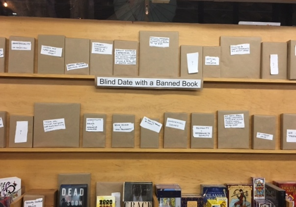 Blind Date With a Banned Book display at Skylight Books.
