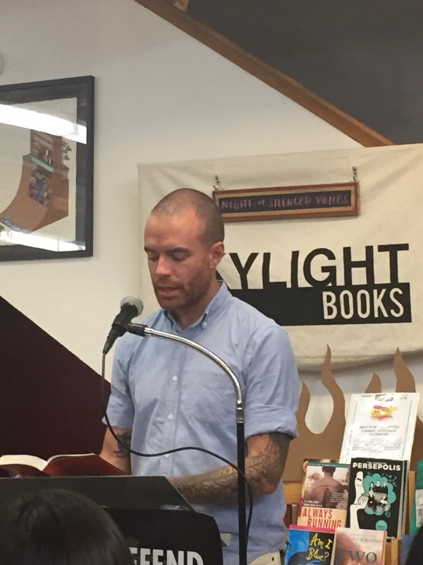Author Chris Terry at Skylight Books' open mic night.