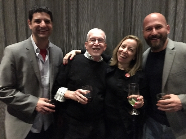 ABA's Matthew Zoni, former ABAer Mark Nichols, Penguin Random House's Ruth Liebman, and Edelweiss' John Rubin at the PRH party.