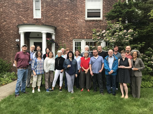 The ABA Board of Directors gathered with association staff at ABA CEO Oren Teicher's home ahead of BookExpo.