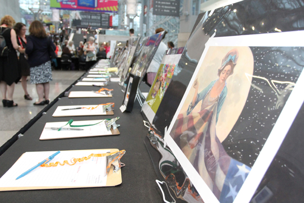 More than 100 illustrators donated artwork for the auction.
