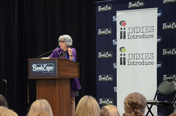 ABA's Joy Dallanegra-Sanger speaking at the Indies Introduce event.