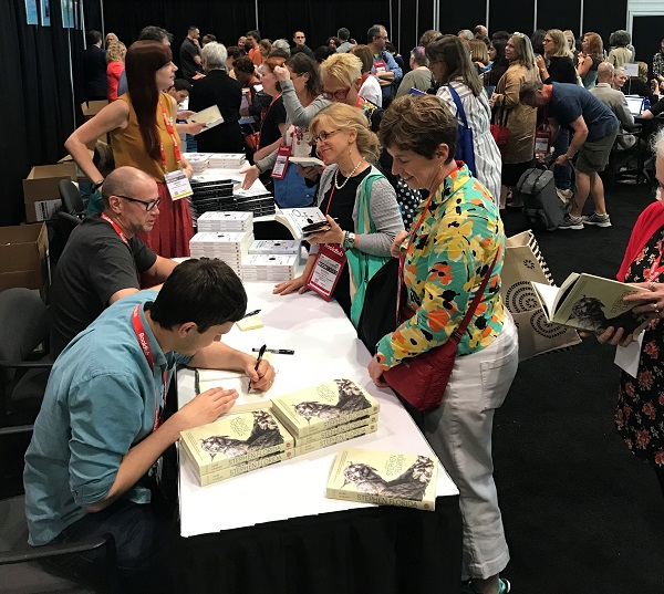 The ABA Member Lounge was filled with indie favorite authors after the lunch.