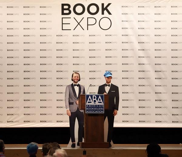 Cardboard stand-ins for Mac Barnett and Jon Klassen