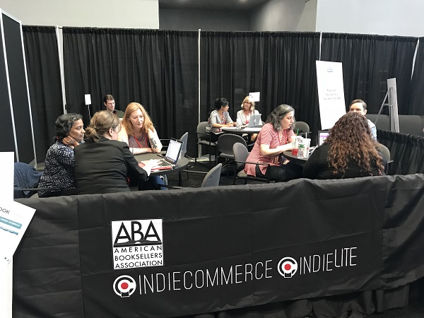 The IndieCommerce team meets with booksellers to discuss e-commerce options.