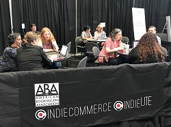 IndieCommerce staff meet with booksellers for one-on-one discussions at BookExpo.