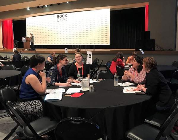 Booksellers and publicists chat during Publicists Speed Dating.