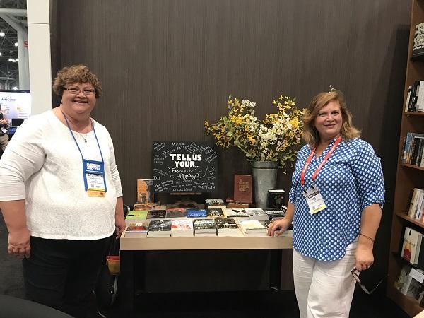 Baker & Taylor's Margaret Lane and Franklin Fixtures' Lisa Uhrik at the Vital Bookstore.