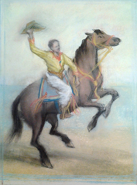 """Pastel illustration from """"Broncho Charlie"""" by Beth Peck."""