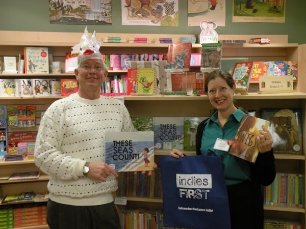 Author Alison Ashley Formento with Well Read Books owner Bill Skees in Hawthorne, New Jersey.