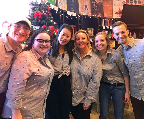 Booksellers at Book Cellar wore matching outfits on Christmas Eve.